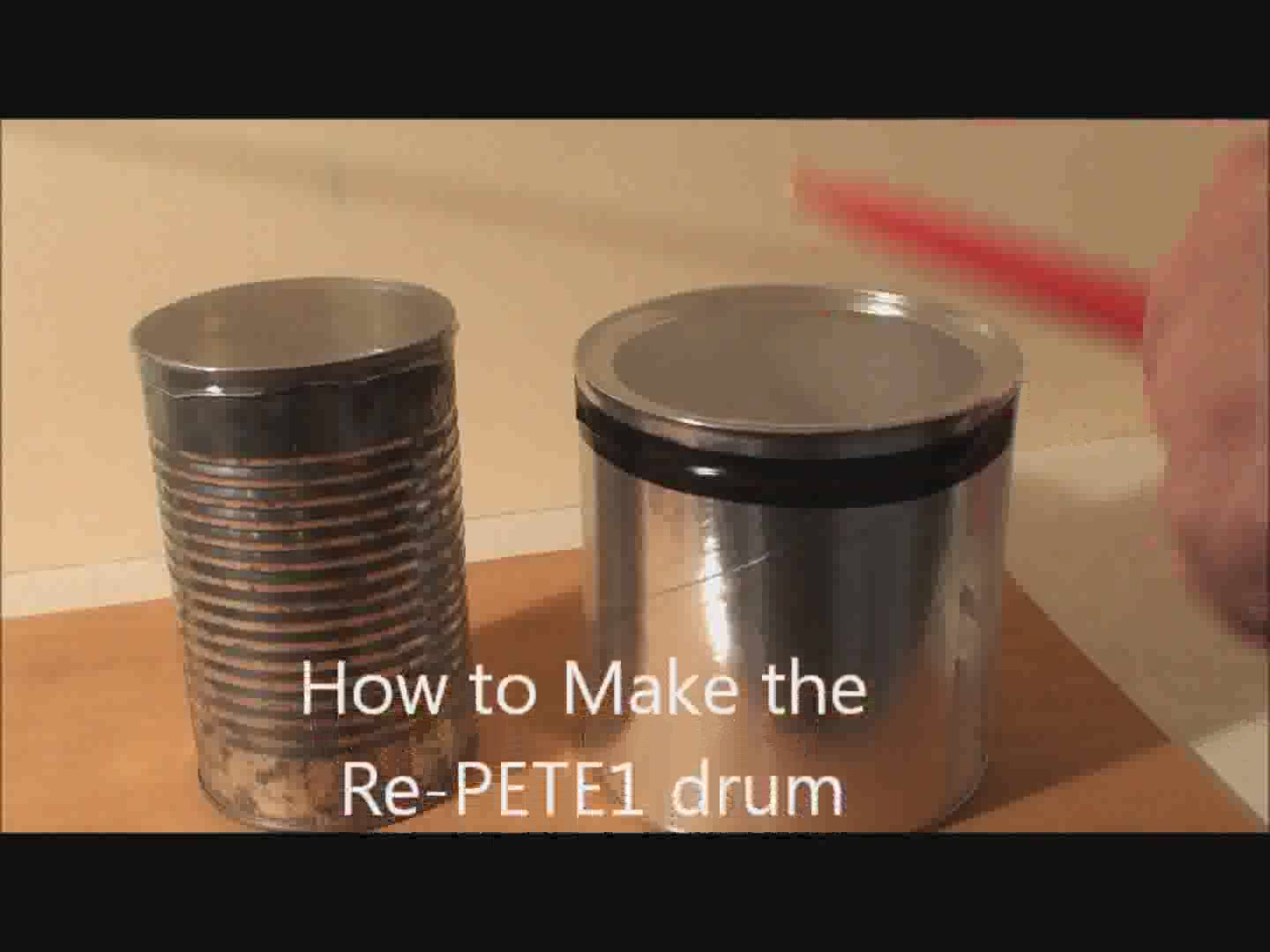 How to make a drum from a can and a water or soda bottle made of PETE 1 type recyclable plastic