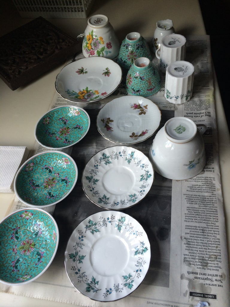 Wash Candelabra, Tea Cups and Saucers