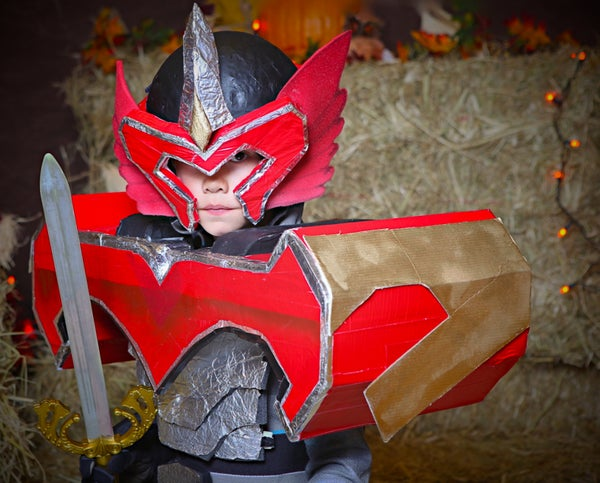 A Power Ranger Mystic Phoenix Titan Costume Made Mostly From Reclaimed Construction Foam Core, Aluminium Foil and Tape.