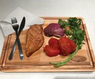 使用非传统腌料的熏制的鸡胸肉