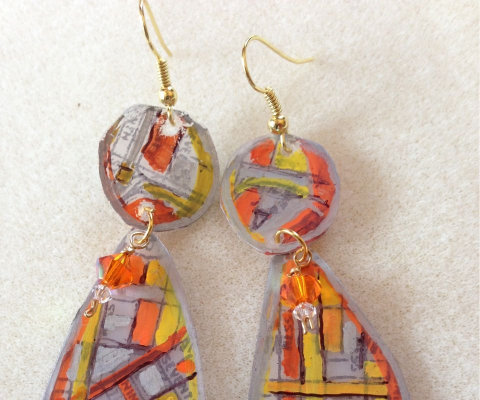 Milk Bottle Earrings With Stamped and Colored Designs