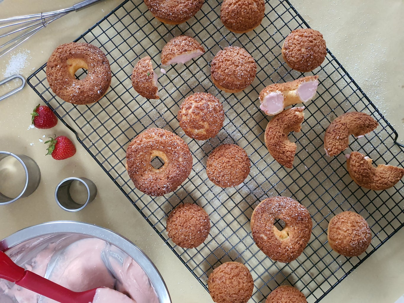Cookie Choux Donuts W/ Strawberry Lamington Filling