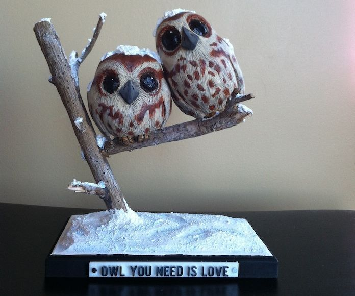 Carved Wood Owl Caricatures - Owl You Need Is Love