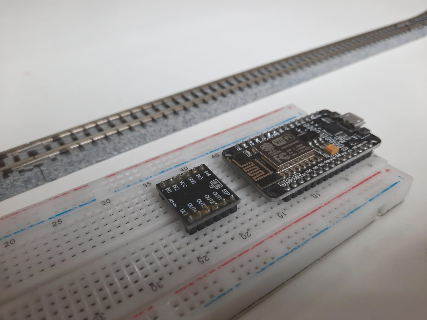 Put the Microcontroller and Motor Driver on the Breadboard