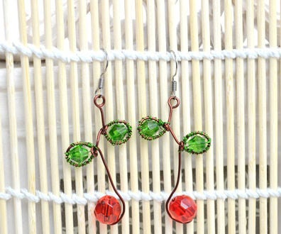 2 Steps to Make Red Cherry Earrings With Simple Wire Wrapping Technique