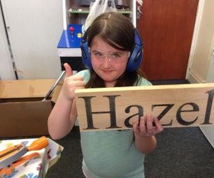 孩子们建立 - 激光剪切卧室名称斑块