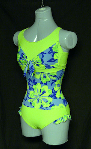 Bow & Ruffles Swimsuit designed in sketchbook using pictures of my fabric