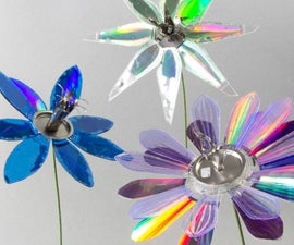 Recycled Flowers From DVDs, CDs, and Floppy Disks