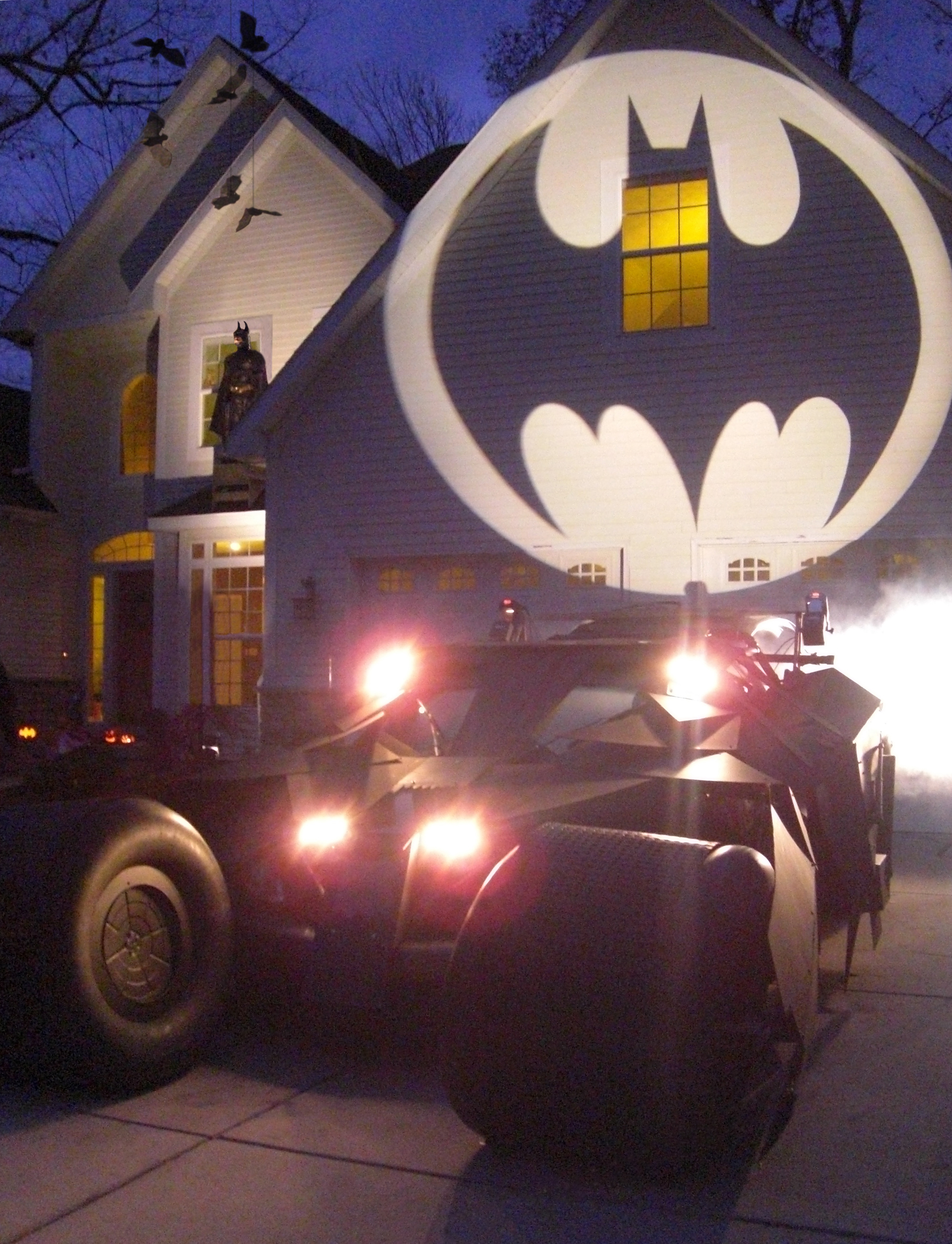 Make a life-sized Batmobile Tumbler and Batman themed Halloween display