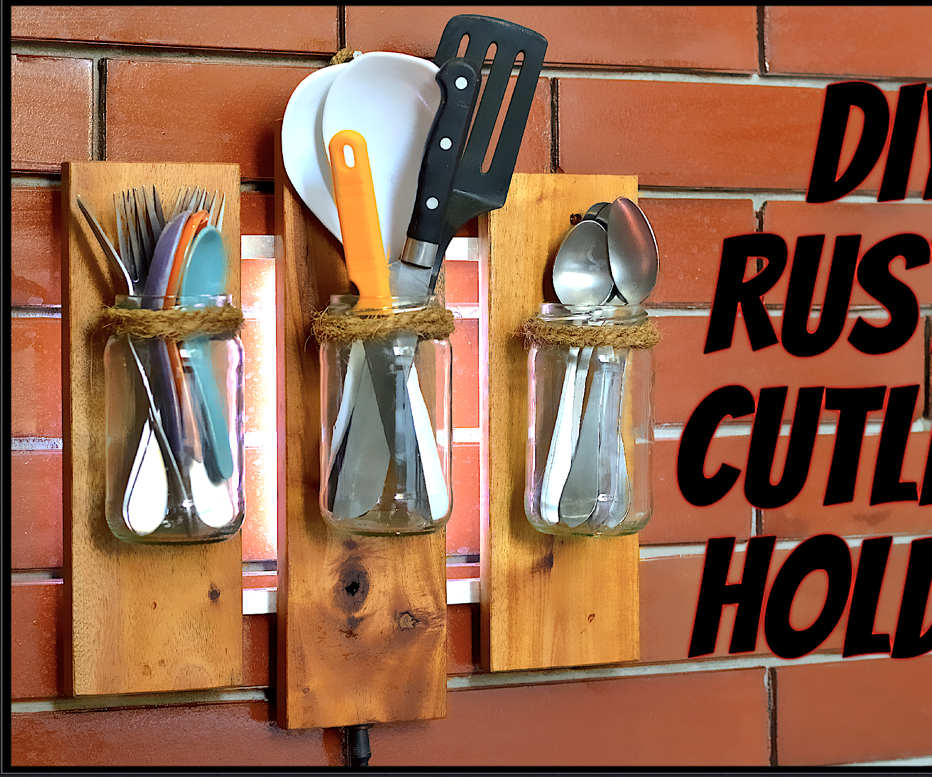 DIY Rustic Cutlery Holder