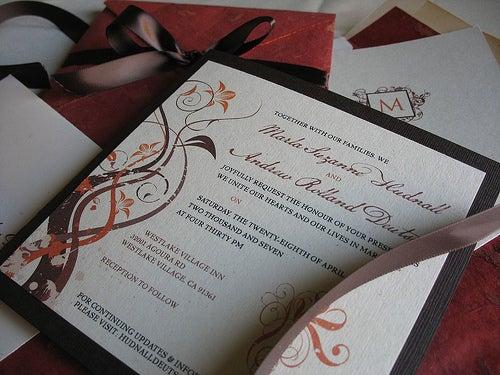 Elegant Fall Colored Wedding Invitations