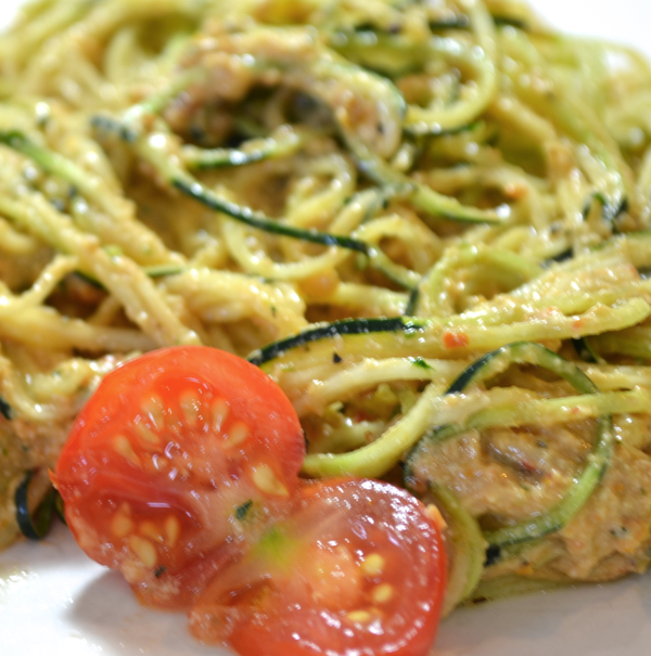 Raw Sundried Tomato Cashew Pesto Sauce & Zucchini Pasta (gluten-free, Dairy-free, Soy-free)