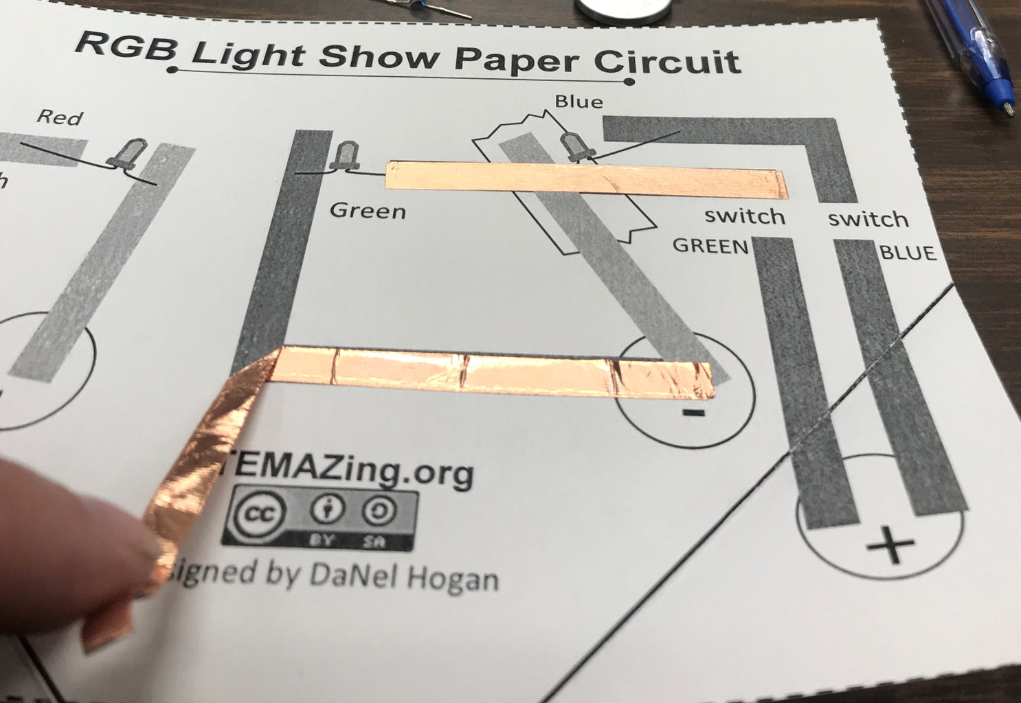 Putting the Second Piece of Copper Foil Tape in Place.