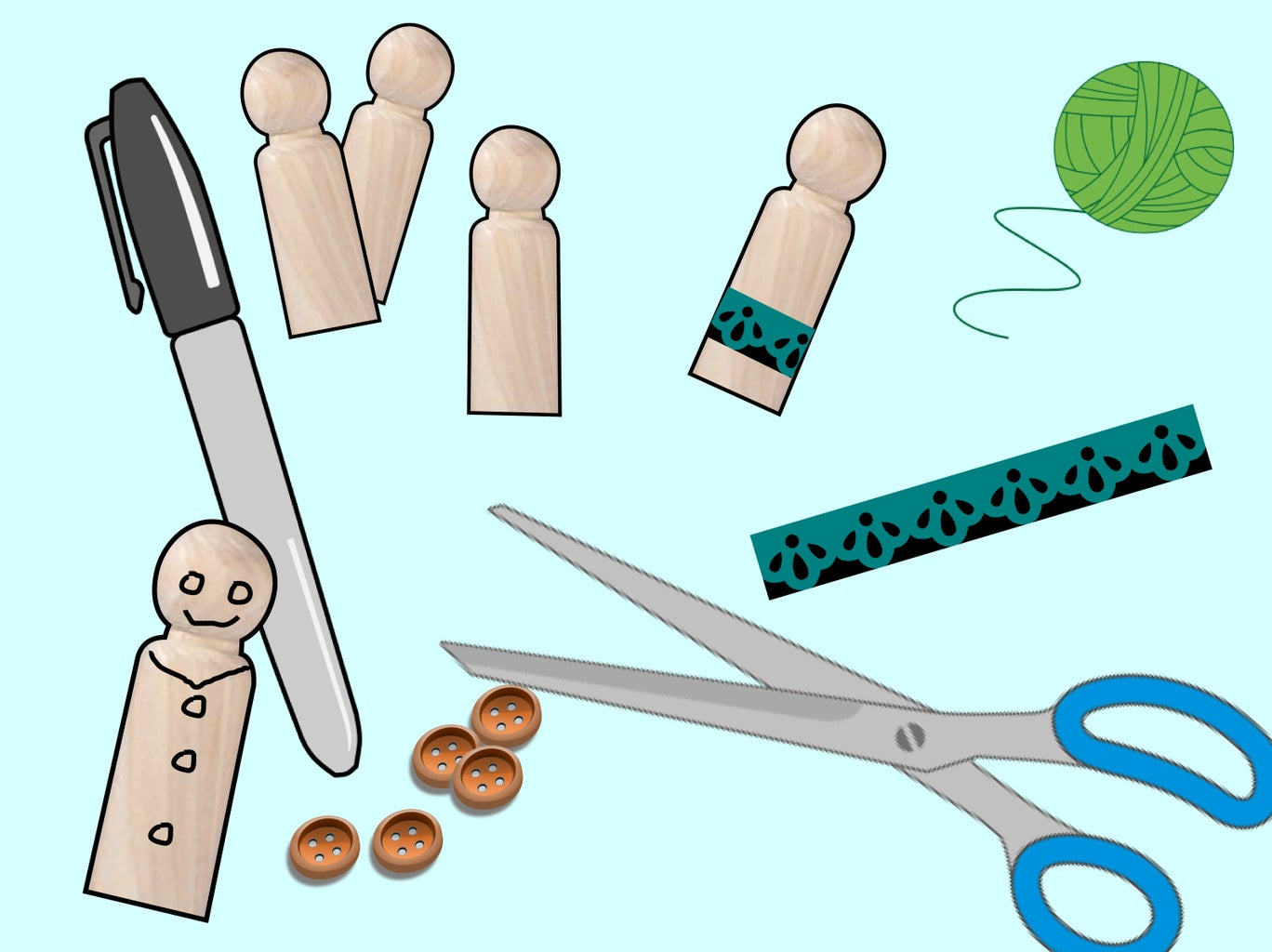 (Optional) Purchase Wooden Pegs and Decorate Them.