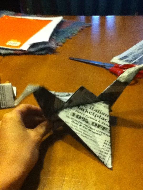 Newspaper Origami Crane