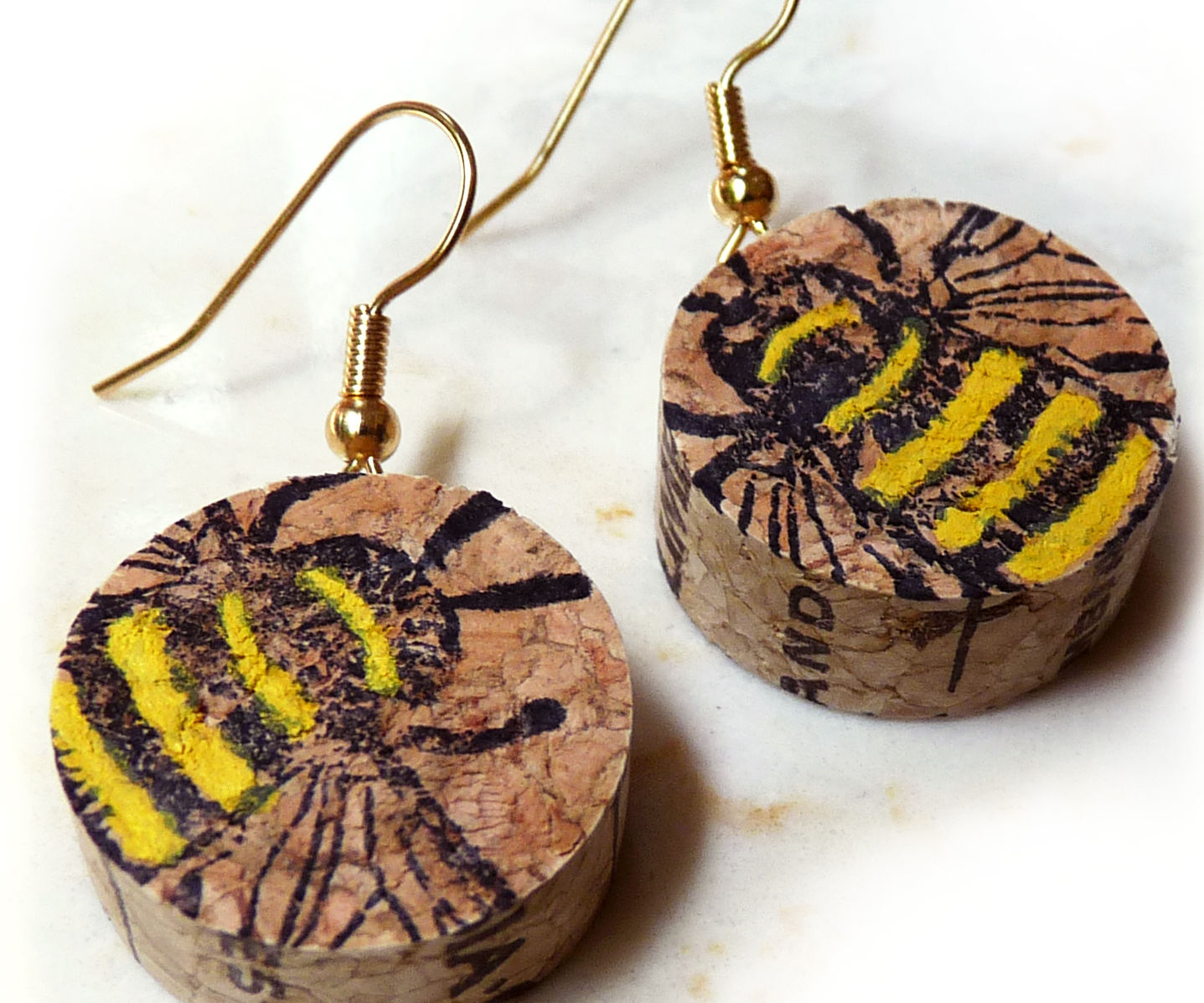 Wine Cork Bee Earrings