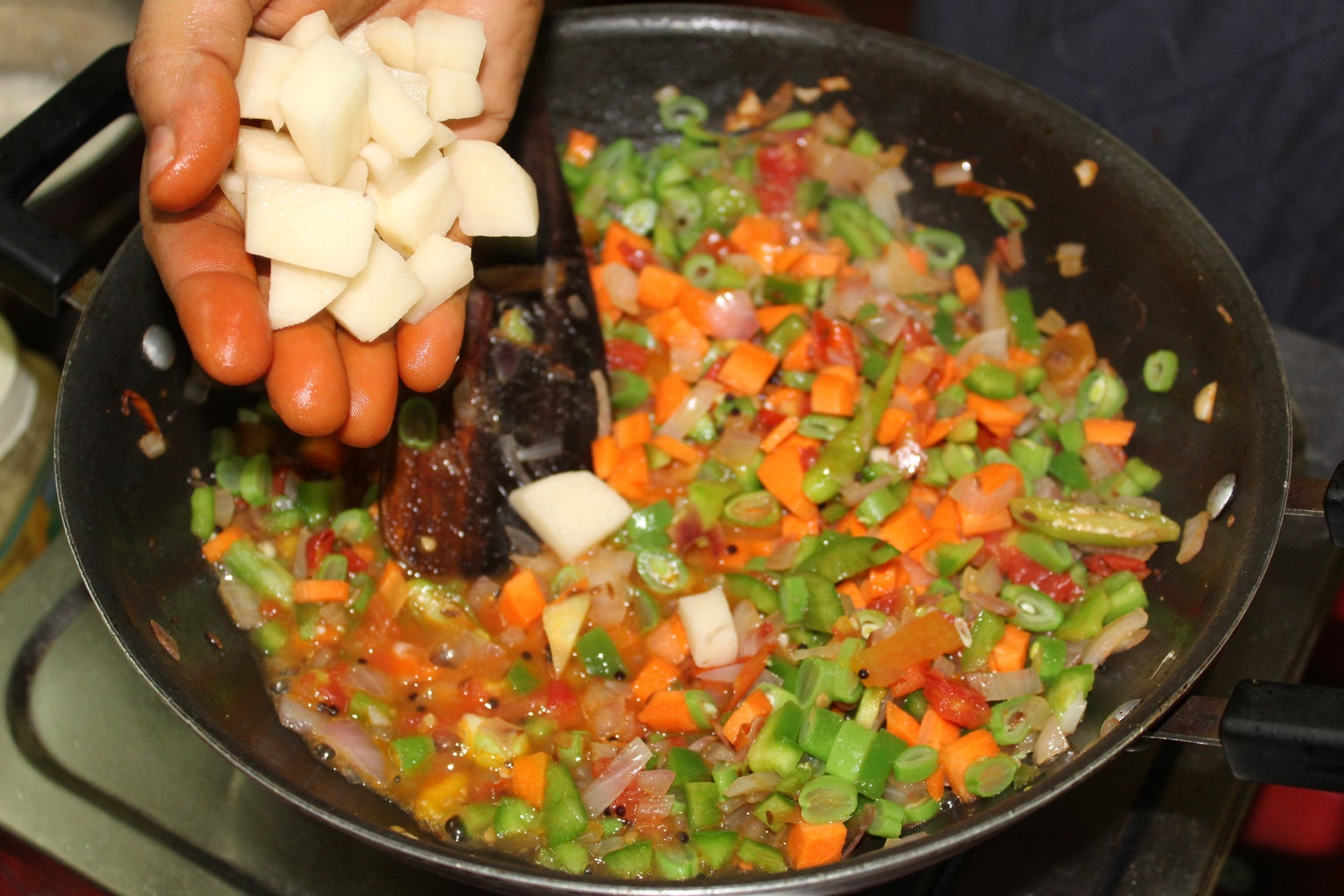 Add the Chopped Vegetables
