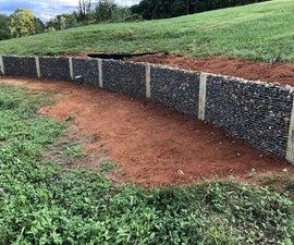 Gabion Stone Retaining Wall, Hillside Pond Optional