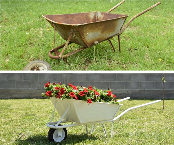 Turning an Old and Rusty Wheelbarrow Into a Flower Planter