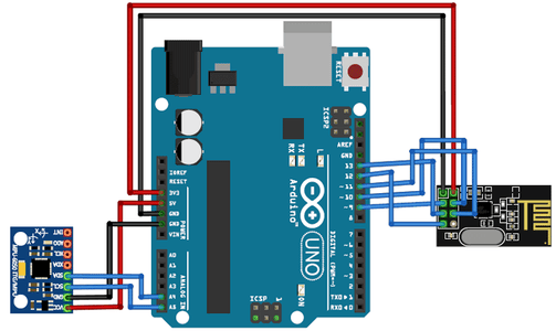 Transmitter Circuit for Arduino Gesture Controlled Car