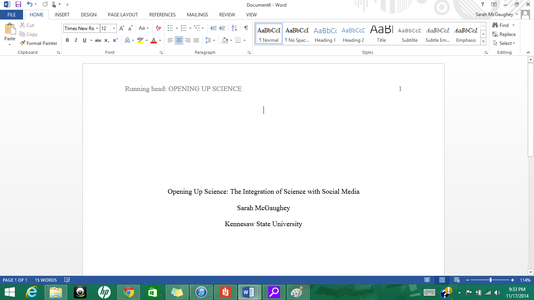 Running Head for the Title Page