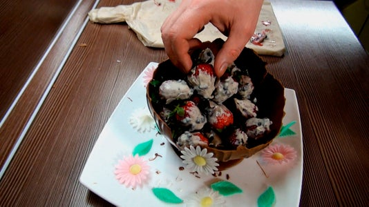 Place the Strawberries in a Chocolate Bowl