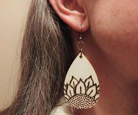Wood Burned Sunflower Earrings