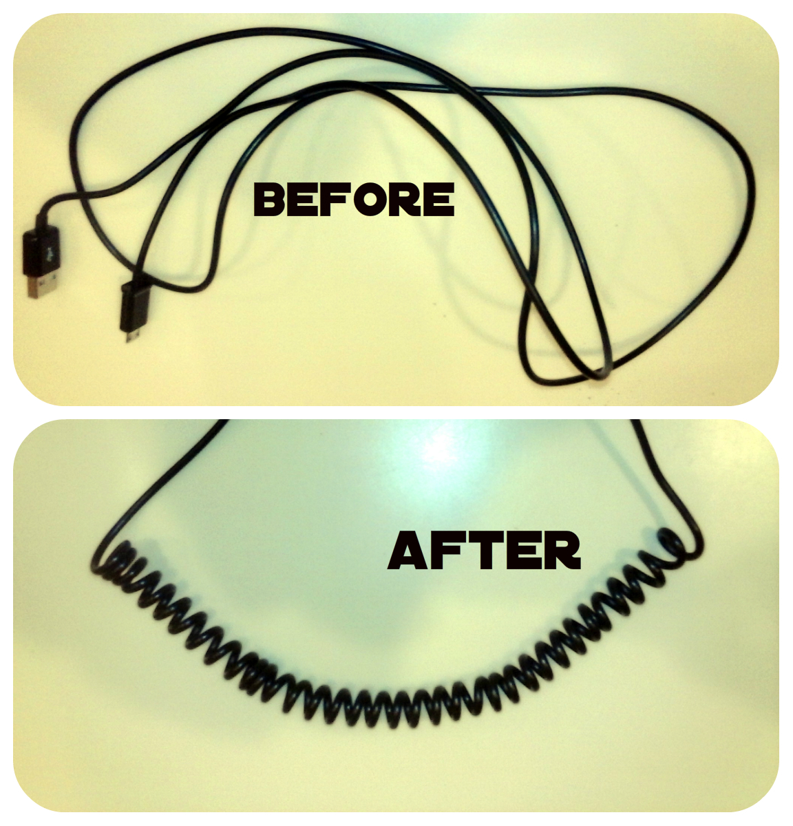 Coiling a USB power cord
