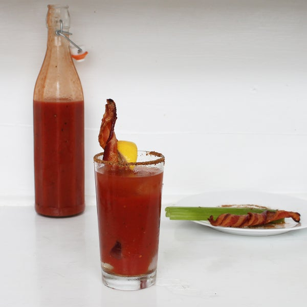Bloody Mary With Bacon Swizzle Sticks