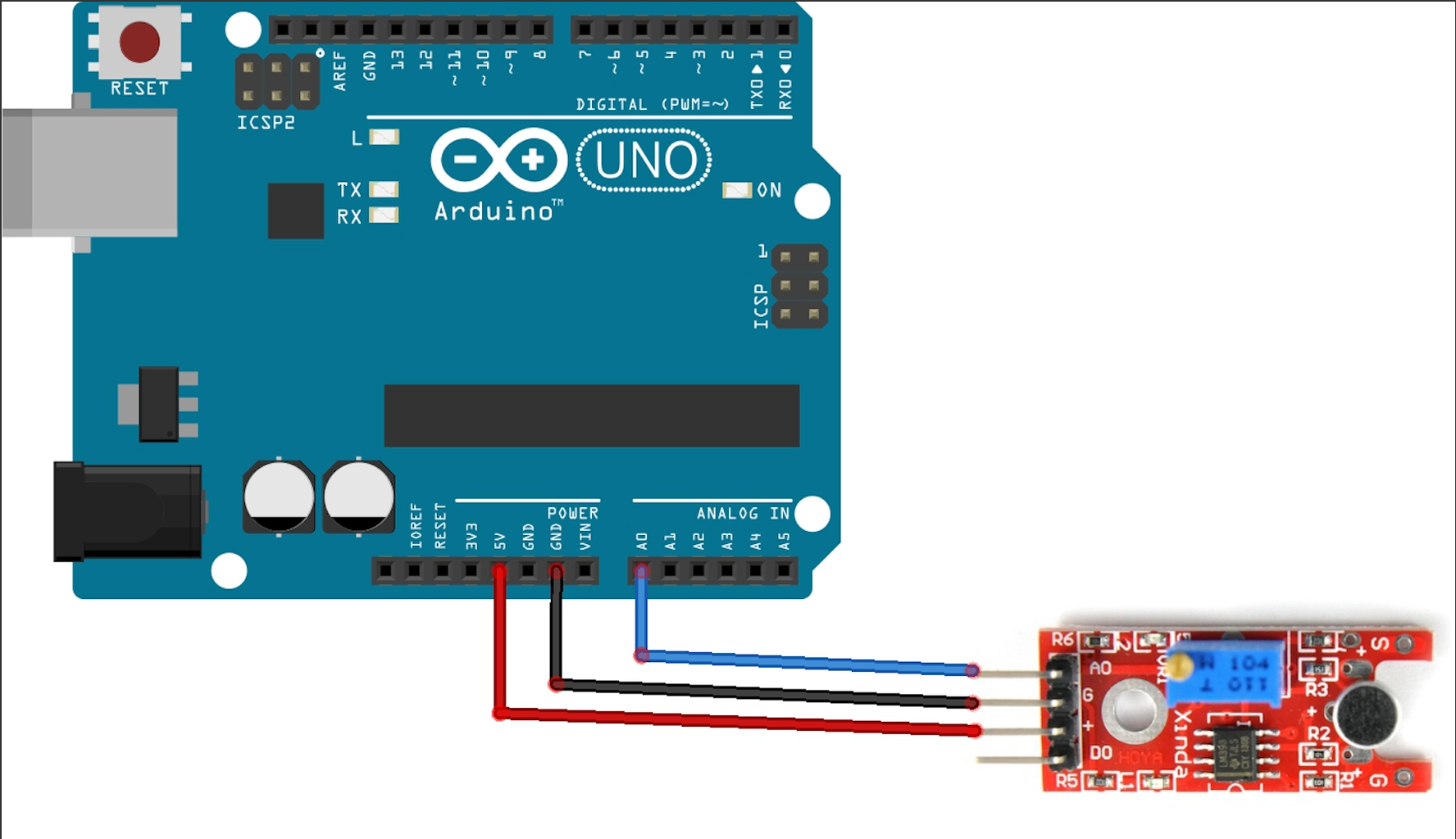 Placement of KY038 Sound Sensor on the Arduino Board
