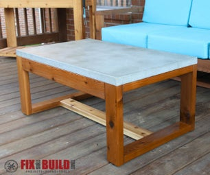 DIY Concrete Top Coffee Table