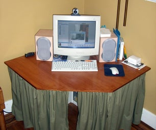 Corner Computer Desk Made With Pipe and Plywood