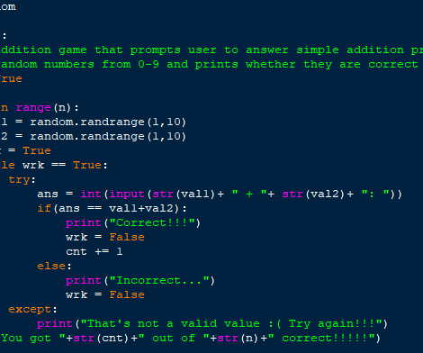 Coding an Addition Game in Python