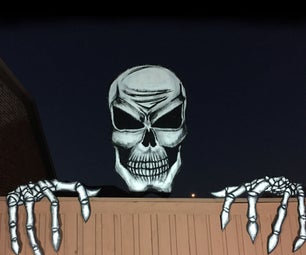 Giant 6 Foot Skull and Skeleton Hands