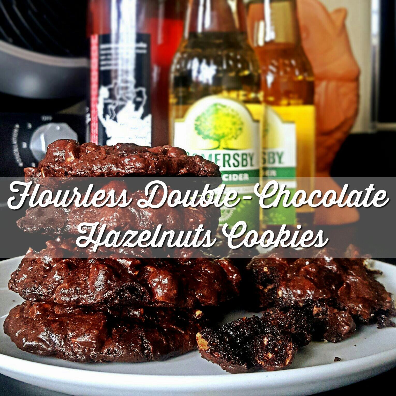 25mins Gluten-free Baked Food: Flourless Double-Chocolate Hazelnuts Cookies with sea salt!