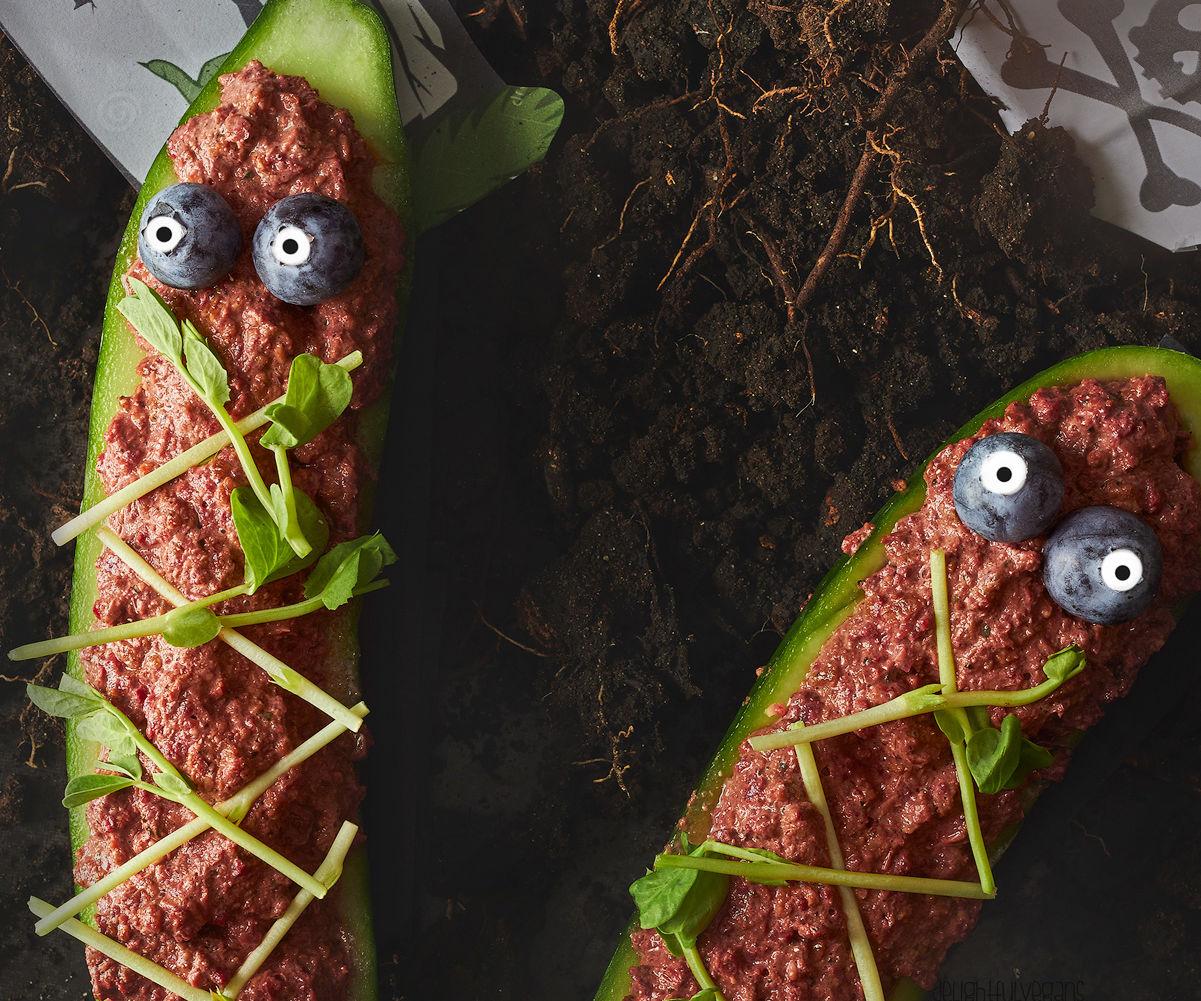 Spooky Raw Cucumber Coffins