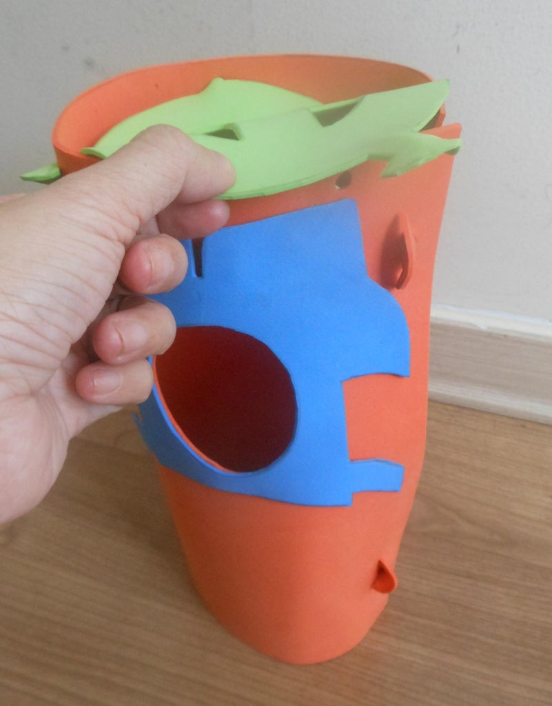 Punch 4 Holes on the Body, They Correspond to 4 Arrows on the Bottom.