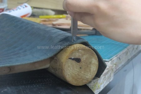 Punch Stitching Holes on a Wood Stick Will Make This Work Easier. (WHAT a MUSCLE MAN@@)