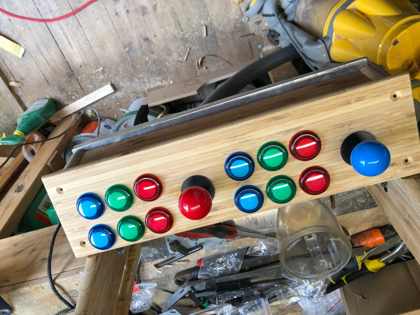 Cut the Holes for the Joysticks and Buttons