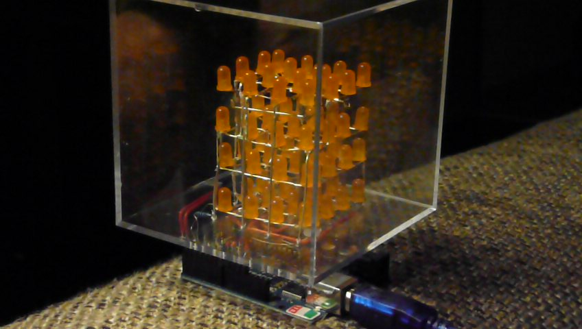 4x4x4 interactive LED-cube with Arduino