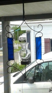 Copper Metal Plant Hanger With Stained Glass