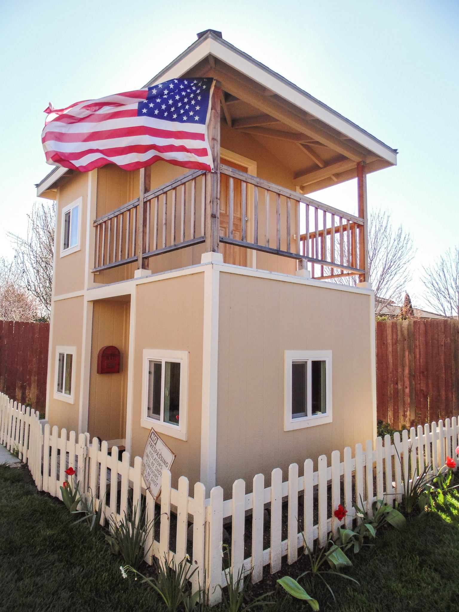 Two story playhouse with balcony