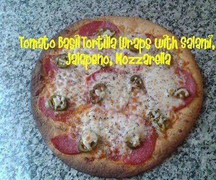 Tomato Basil Tortilla Wraps With Salami, Jalapeno, Mozzarella Recipe