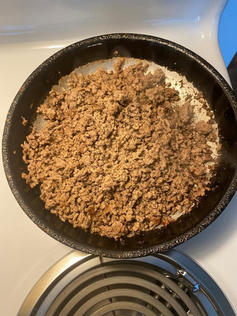 Step 4: Drain Ground Beef When Done Browning. Set Aside.