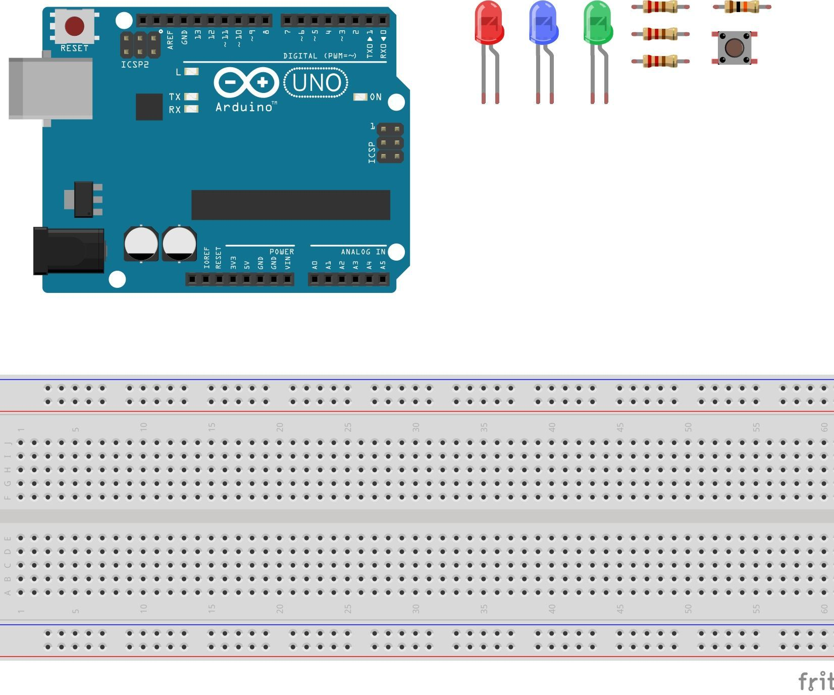 Interrupt Pin With LED's and Button