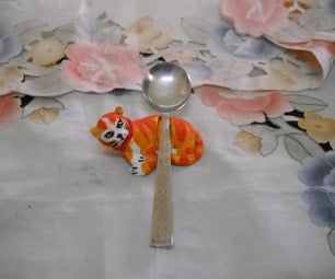 Clay Cat Spoon Holder
