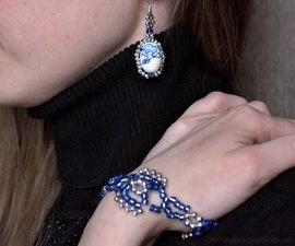 Easy Beaded Bracelet and Earrings (winter Style)