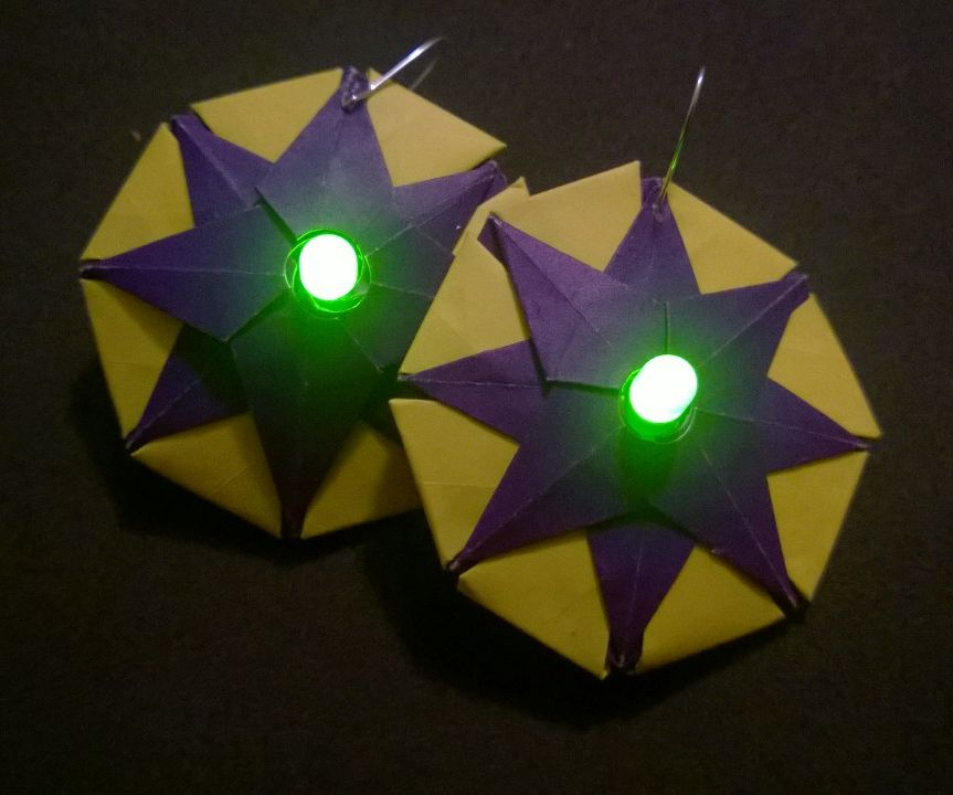 Origami Earring with LED light (Mardi Gras Colors)