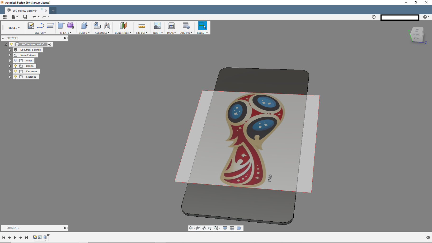 Extrude the Body of the Card