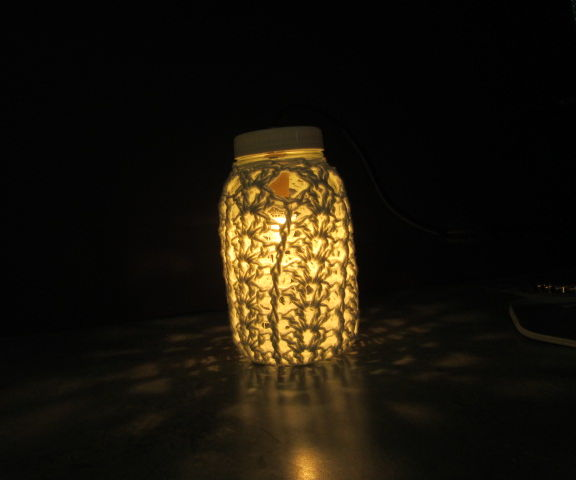 Crocheted Lace Mason Jar Lamp